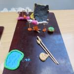 mamut na ohni, chatrč, nástroje a zbraně